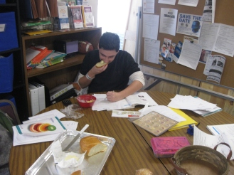 Zack eating while he works- no time to waste!