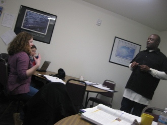 Instructor Jaclyn coaching Bennie in how to tell someone they are doing something wrong without being mean!