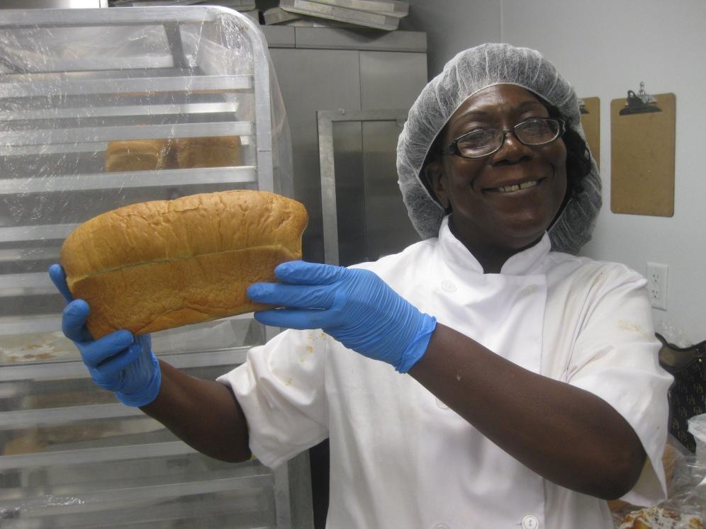 Linda showing off her loaf