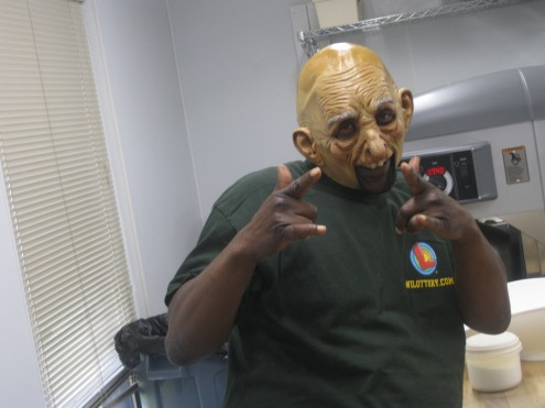 Kitchen Manager Ken and his creepy mask..happy almost halloween!